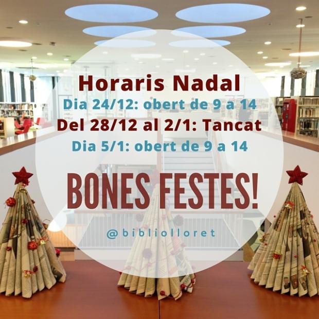 Horaris Nadal Biblioteca Lloret de Mar